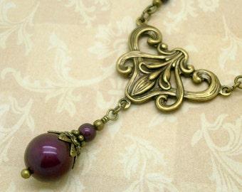 Art Nouveau Style Necklace with Blackberry Purple Swarovski Pearls