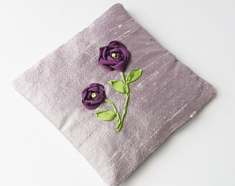 Purple roses lavender sachet, embroidered silk ribbon roses, June birthday gift, drawer freshener, scented sachet, lavender silk sachet