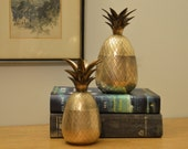 Reserved for Margaret. Pair of vintage brass pineapple candlestick boxes