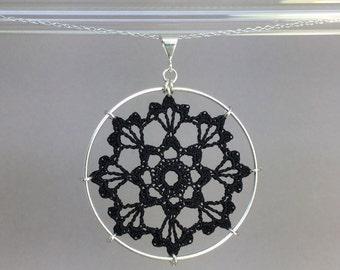Scallops doily necklace, black silk thread, sterling silver