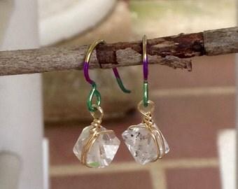 Herkimer Diamonds on Mardi Gras Niobium