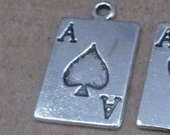 Poker cards charms silver color Ace of Spades  findings silver quantity 6    jewelry supplies   (AAA7)