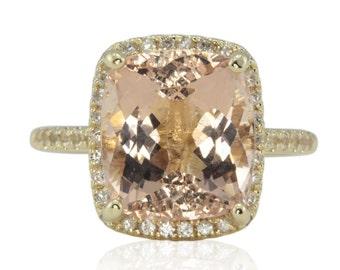Morganite Ring - White Sapphire Halo Statement Ring with 10x12mm Rectangular Cushion cut Morganite in 14k Yellow Gold - LS4536