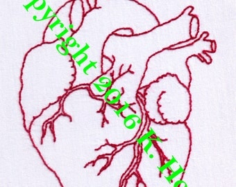 Heart Hand Embroidery Pattern, Anatomical Heart, Human, Heart, Beat, Organ, Body, Science, Biology, Love, Artery, PDF