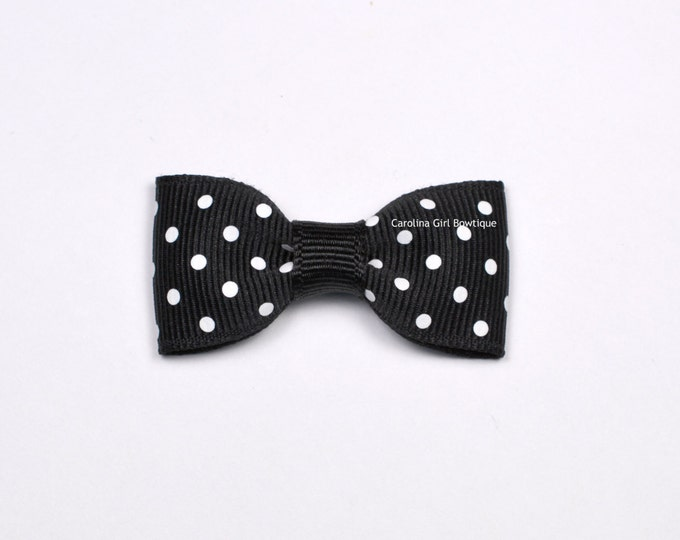 Black Dots Baby Hair Bow ~ 2 in. Bow with No Slip Grip ~ Small Hair Bows Newborns Toddler Girls