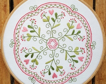 Garden of Hearts Mandala Embroidery Pattern