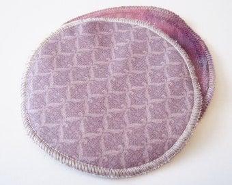 2 pairs of Postpartum Nursing Pads .. Elegant Mauve Printed Cotton and Organic Bamboo Velour FREE Shipping