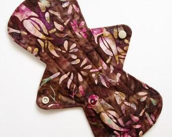 "11"" Heavy Cotton Batik Cloth Menstrual Pad, Birds Foliage Brown Pink, Incontinence Pad, Flared Pad Contoured, Reusable Sanpro, Plus Size Pad"