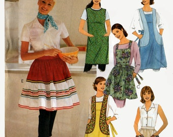 Womens Aprons Sewing pattern Retro Collection 1950s Back Wrapped Apron Size 8 to 22 Bust 31 1/2 to 44 UNCUT