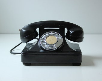 "Vintage black rotary phone - display photo prop sold ""as is"""