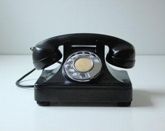 """Vintage black rotary phone - display photo prop sold """"as is"""""""