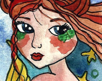Mermaid ACEO Painting Mer-Taurus Horoscope Mermaid Original Illustration Mermaid Fantasy Ocean Sea Magic Painting Art by Niina Niskanen