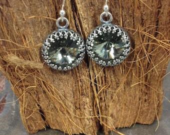 Black Diamond Swarovski Bezeled Rivoli Drop Earrings