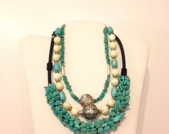 Turquoise Necklace THREE Necklace Lot Mother of Pearl Blue Necklace Boho Necklace Necklace Lot Bali Bead Necklace LOT PNDM