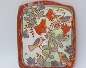 yellow birds hand carved ceramic art tile
