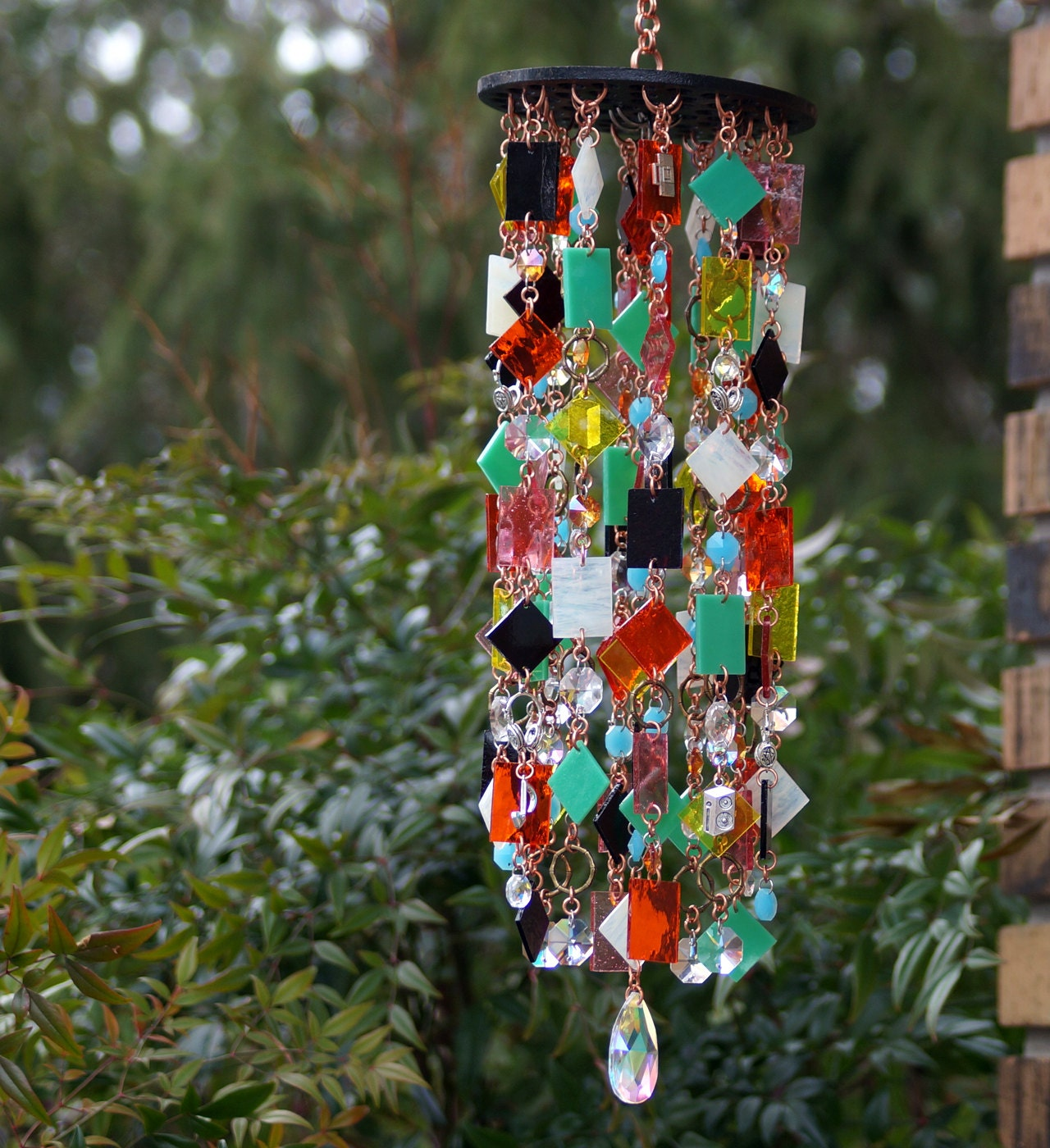 retro stained glass colored glass unique wind chimes. Black Bedroom Furniture Sets. Home Design Ideas
