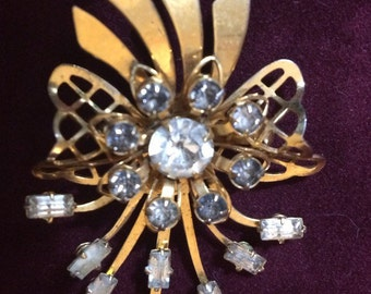 Vintage gold tone and rhinestone spray convertible brooch or pendant