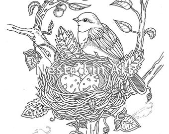 Adult Coloring Page - Bird with bird's nest original art Digital Download