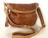 Alberta leather bag in golden brown