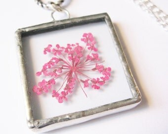 silver flower necklace - flower jewelry - pink flower necklace - real flower necklace - small flower necklace - bridal jewelry