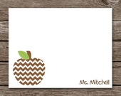 Teacher Note Cards - Notecards - Apple - Chevron - Polka Dots - Stripes - Gingham - Stationery - Stationary - Personalized - Set of 8