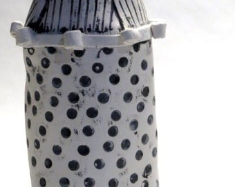Black and White Ceramic Hand Built Vase