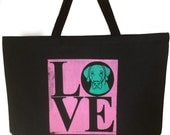 Retro LOVE Doggie Tote - Large Screen Printed Tote by Angela Bond
