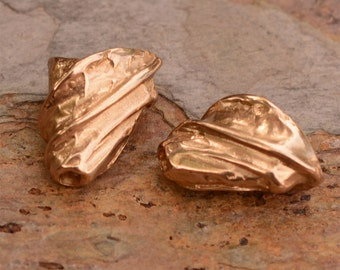 Gold Bronze Beading Cones, Two Oval Shaped Wrapped Cones