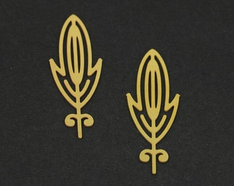 Exclusive - 4pcs Raw Brass Feather Charm / Pendant, Fit For Necklace, Earring, Brooch - TG109
