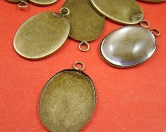 10% OFF SALE - 10PCS 25x18mm Antique Bronze Oval Gemstones Cameo Base Setting Charm Bs214