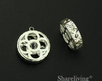 2pcs 3D Filigree Gear Case Charm / Pendant with Crystal inside , High Quality Shiny Shiny Silver - RZD201A