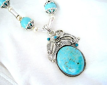 Oval Turquoise Silver Tibetan Lined Pendant Beaded Beautiful Handmade Necklace
