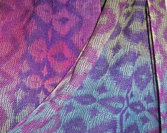 Handwoven Shawl Yak and Silk , Handpainted Warp