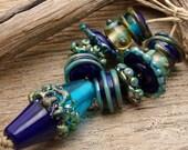 A River Runs Through It - Handmade Lampwork Bead Set - Earring Pairs - 11 Beads