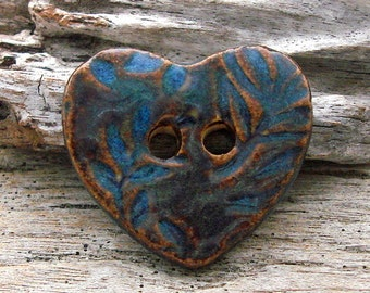 HEART BUTTON - Blue with Bronze Accent Button - Handmade Ceramic Button - #5