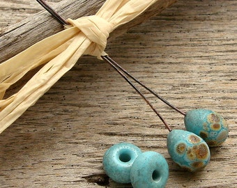 TURQUOISE PAIRS - 2 Handmade Lampwork Headpins with Coordinating Lampwork Earring Pair