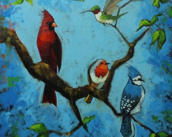 Birds painting 142 30x30 inch original cardinal bluejay birds portrait oil painting by Roz