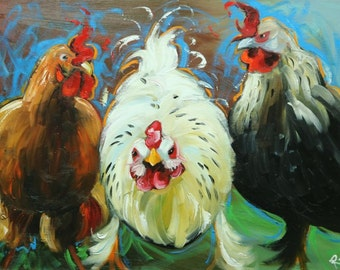 Rooster 825 18x24 inch original animal portrait oil painting by Roz