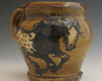 Mug with appaloosa horses slip trailed  pottery