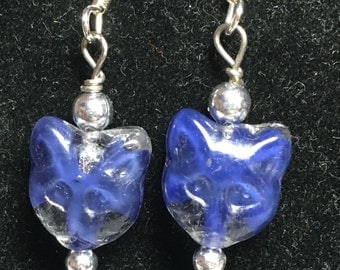 Beaded Navy Tortise Cat Face Dangle Drop Earrings