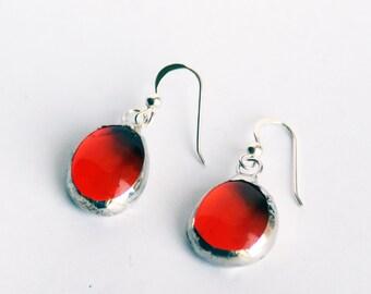 Earrings- Stained Glass Earrings  Orange Earrings