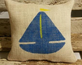 """Sailboat Burlap Stuffed Pillow Navy Blue Nautical Summer Pillow 8"""" x 8"""" Beach House Pillow"""