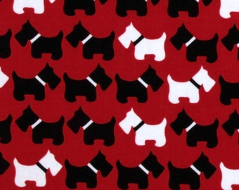 Scottish Terrier-White Black Dogs On Red Fabric