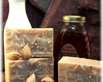 Handmade Goatmilk Soap, Almond Honey Soap, Oatmeal Soap, Lavender Goatmilk Soap, Unscented Oatmeal Soap, One Bar