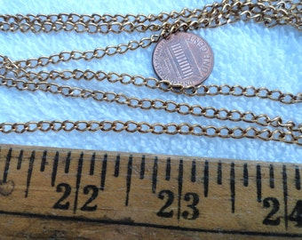 10 Feet of Brass Curb Chain, 3mm x 5mm, Open Link
