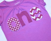 Girls First Birthday ONE shirt - gray 18 month short sleeve with lettering in purple daisy and aqua blue stripe