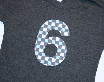 Boys 6th Birthday Number 6 Shirt - short sleeve heather gray shirt with number 6 in gray aqua blue racing check