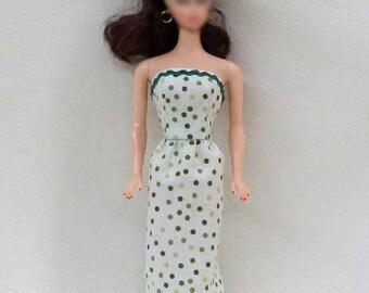 """11.5"""" Fashion Doll Dress Handmade - Green Polka Dot"""