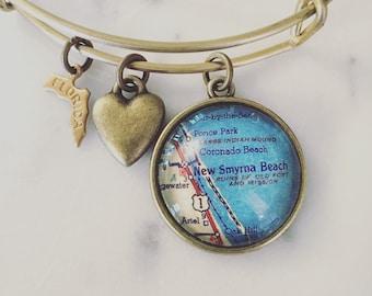 New Smyrna Beach Bracelet - Florida Bracelet - Charm Bracelet - Map Bracelet - New Smyrna Bracelet - Gift for Her - Bridesmaid Gift