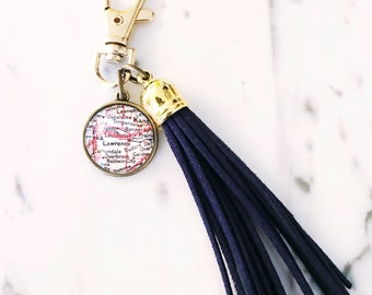 Lawrence Kansas Map Tassel Key Chain - Purse Accessories - University of Kansas - Alumni - Student - Graduate - Boho Accessories